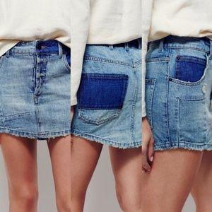 Free People 》 Denim Patchwork Mini Skirt